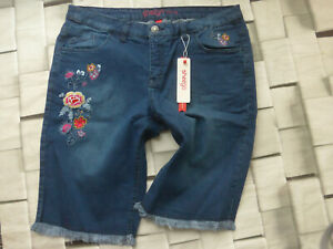 Sheego-Trousers-Jeans-Blue-short-Size-48-plus-Size-with-Flowers-048