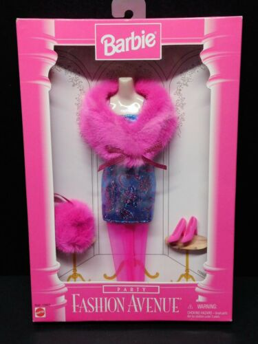 BARBIE 1997 FASHION AVENUE PARTY Hot Pink Fur & Metallic Blue Dress15863NRFB