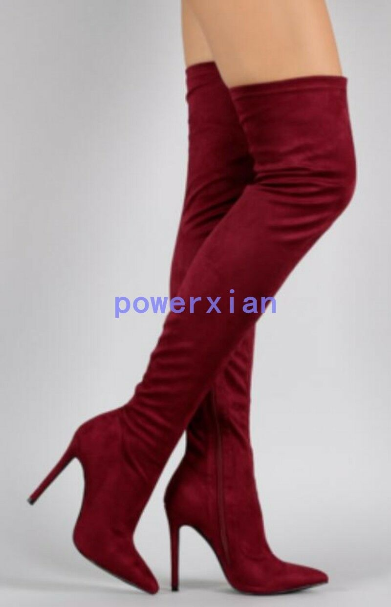 Mujer por sobre la rodilla botas Tacones Tacones Tacones De Aguja Cremallera Stretch Puntera Puntiaguda europeo largo pierna Zapatos  venta con alto descuento