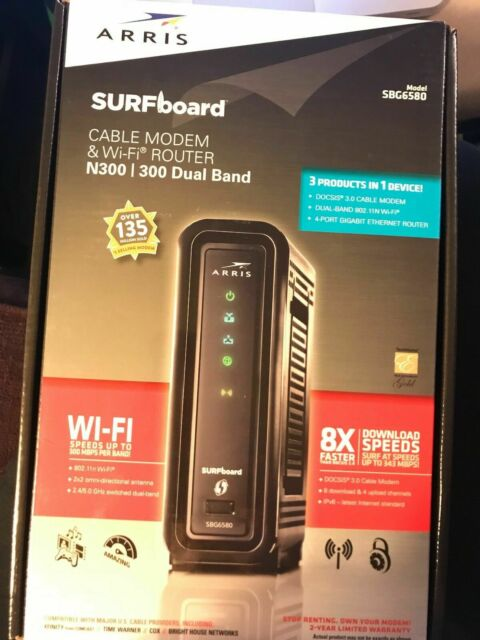 ARRIS Surfboard SBG6580 Cable Modem /& Wi-Fi Router N300 Dual Band 4 Port Black