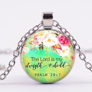 Bible Verse Quote Pendant,Scripture Necklace, Quote, The Lord is my Strength
