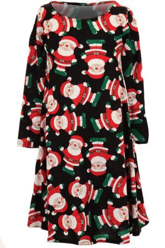 Les enfants Noël Bonhomme Neige Renne Santa manches longues enfants swing robe haut