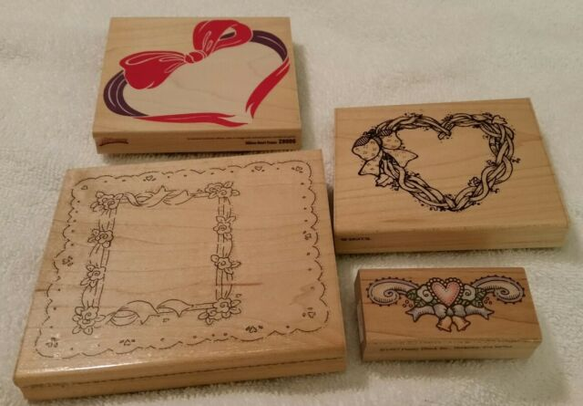 4 HEART VALENTINES DAY LOVE RUBBER STAMPS