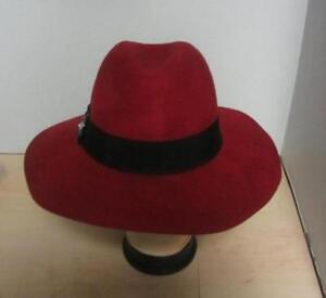 d189e6ab2776e Adrienne Vittadini Red Felt Wide Brim Fedora Hat w grosgrain band ...