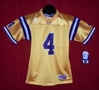 NEW LSU Tigers #4 Russell Athletic Team Issue Gold Football Jersey YOUTH LARGE