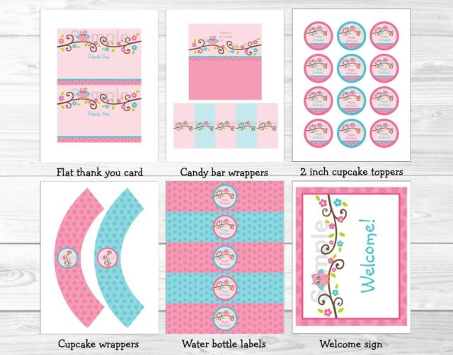 Pink Girl Owl Blossom Printable Birthday Party Package