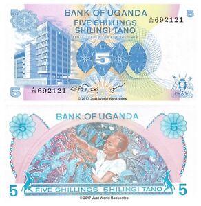 Uganda-5-SCELLINI-ND-1979-P-10-BANCONOTE-UNC
