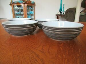4 Vintage Corning/Pyrex Thick Cereal Bowl Small Terra Black Brown Striped Chili