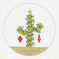 Christmas Cactus W/ Lights Hp Needlepoint Canvas Ornament Jp Needlepoint