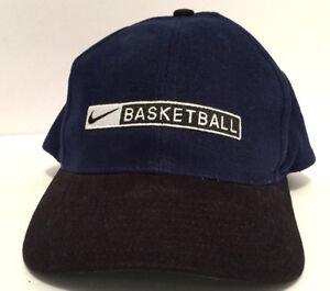 9f5dc03303f Vintage Nike Basketball Spell Out Hat Black Blue Snapback Baseball ...