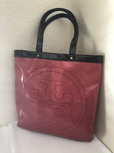 acdb30118e0 Image is loading Tory-Burch-Black-Hot-Pink-Patent-Leather-Perforated-