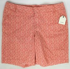 Caslon Women's Ivory And Orange Clean Front Short - Size 12 - *C330