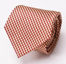 New $225 BORRELLI NAPOLI 7-Fold Silk Tie Burgundy-Gold Woven Check