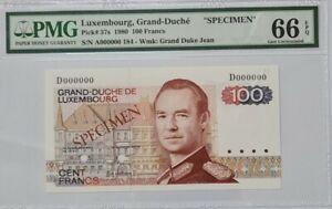 """1980 LUXEMBOURG 100 Francs """"SPECIMEN"""" PMG66 EPQ GEM UNC {P-57s} 'No.184'"""
