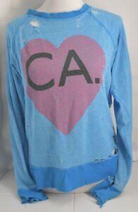 Distressed Donna Taglia Wildfox piccola Manica Ca Sweater lunga S Blue La Small n4Cq1