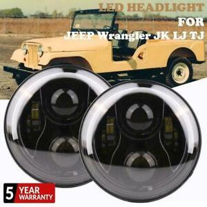 2X-7-034-LED-Headlights-Halo-Angle-Eyes-DRL-For-Jeep-Wrangler-JK-VW-Beetle-Classic