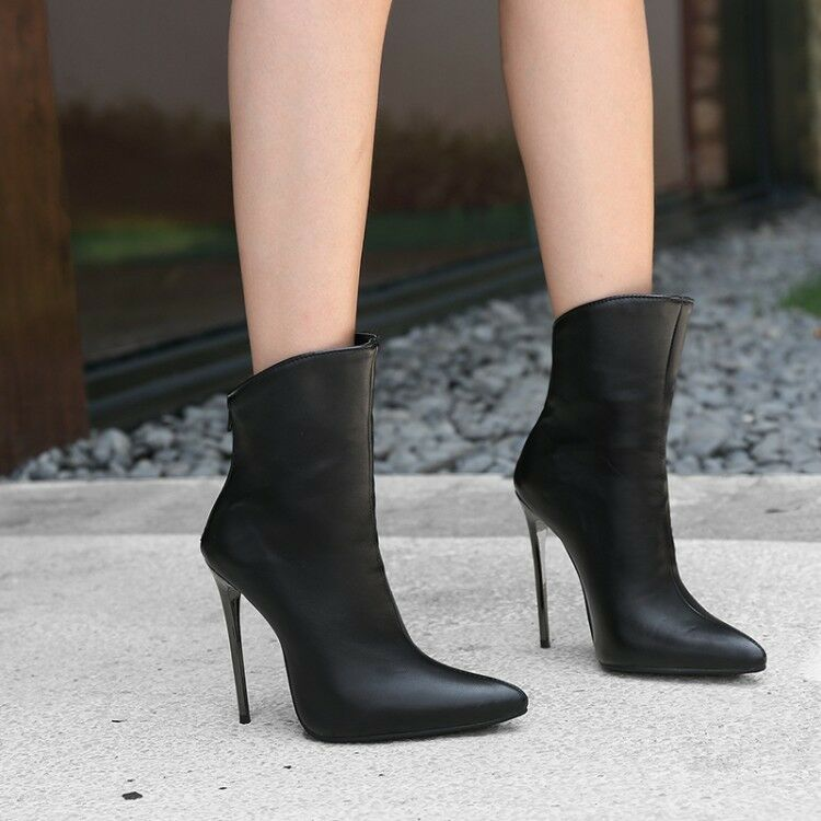 Womens Stiletto High Heels Ankle Boots Pointed Toe Solid Sexy shoes Fashion