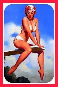 Pin-Up-Girl-Bikini-Panneau-Metallique-Plaque-Voute-Metal-Etain-Signer-20-X-30-CM