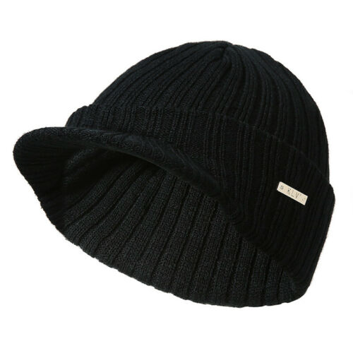 Men Women Winter Ski Hat Knit Warm Visor Beanie Billed Beanie With Brim Wool Cap