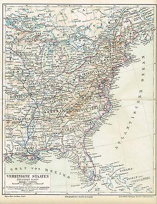 Karte Usa Ostkuste 1890 Original Graphik Ebay