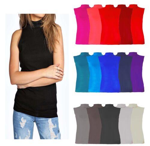 New Ladies Womens Sleeveless Polo Neck Plain T-Shirt Tunic Top Plus Size 8-26