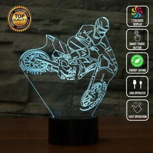 MOTOCROSS DIRTBIKE FOX 3D Acrylic LED 7 Colour Night Light Touch Table Desk Lamp