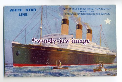 LS0085 White Star Liner Majestic , built 1922 postcard art Montague Black