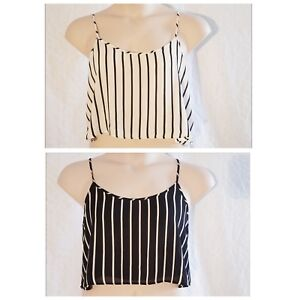 6976f4577c9b6 FOREVER 21 Two L Large Striped Cami Vest Crop Top Sleeveless Blouse ...