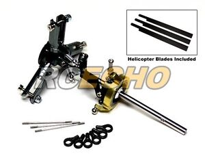 Flybarless-Metal-Main-Rotor-Head-amp-3-Blades-for-Align-T-REX-450-Helicopter-RH450