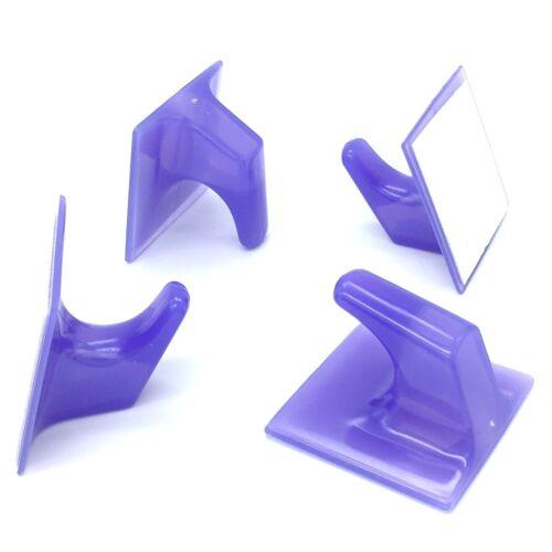 801 STICK ON HOOKS 50mm Lilac Self Adhesive Plastic Sticky Coat Hook Door Wall