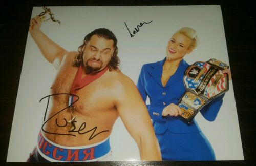 WWE Rusev Lana Rusev day signed duel glossy photo approximately 7.5x10 autograph