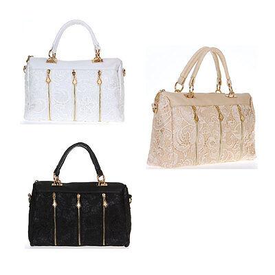 Fashion Womens Lady PU Leather Messenger Shoulder Bag Tote Lace Handbag Satchel