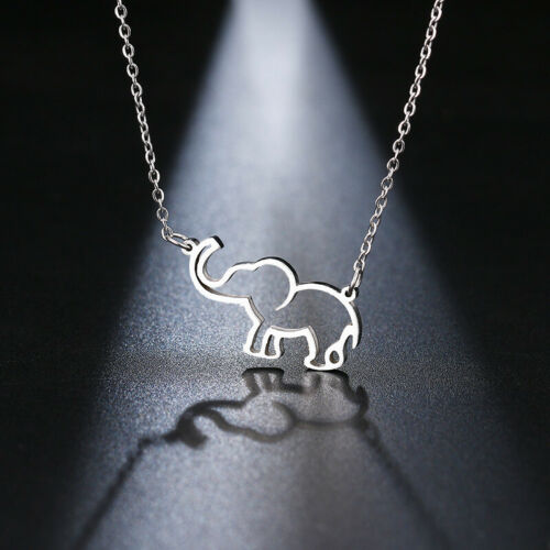Hollow Elephant  Silver Gold Necklace Stainless Steel Chain Women Girl Jewellery