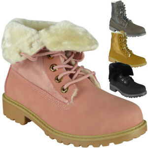 New-Womens-Ladies-Lace-Up-Fur-Lining-High-Top-Low-Heel-Ankle-Boots-Shoes-Size