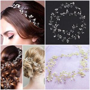Pearl Long Wedding Hair Vine Crystal Headband Bridal Accessories Gold Silver