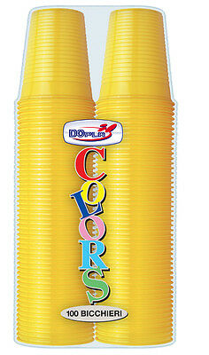 Bicchieri Dopla In Plastica Monouso Gialli Cc.200 Cf.100 Pz. Party Tinta Unit Sconti Prezzo