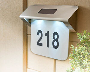 solar powered led light up house number sign plaque stainless steel address. Black Bedroom Furniture Sets. Home Design Ideas
