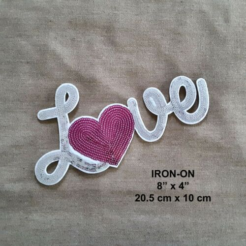 Sequined White Gold Love Heart Embroidery Patch Beaded Clothing Glitter Applique