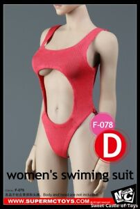1-6-SuperMCToys-Accessory-Female-Red-Women-039-s-Swimming-Suit-F-078D-For-Phicen