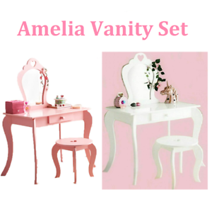 size 40 b43b4 ede53 Details about New Pink & White Amelia Vanity Set Stool & Mirror Kids  Dressing Table & Stool