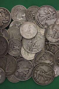MAKE OFFER 1 Troy Ounce Ben Franklin Walking Washington 90/% Silver Junk Coins