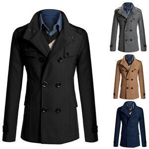 Men-039-s-Stylish-Double-Breasted-Warmer-Winter-Long-Trench-Coat-Overcoat-Jacket-Kit