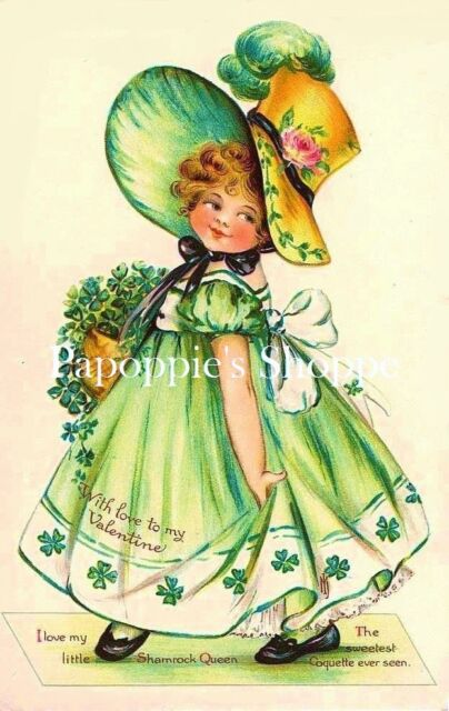 Valentine's Day Fabric Block Vintage Postcard on Fabric Victorian Irish Girl