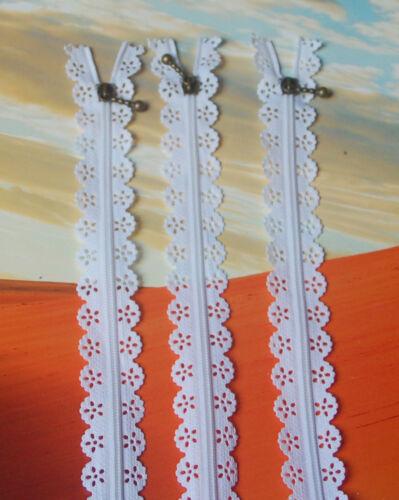 3 pièces spitzenreißverschluß 20 cm Glissière Noir Blanc