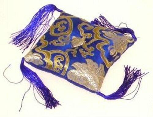 Kissen für Klangschale blau mit Blumenmotiv 12 x 12 x 4 cm