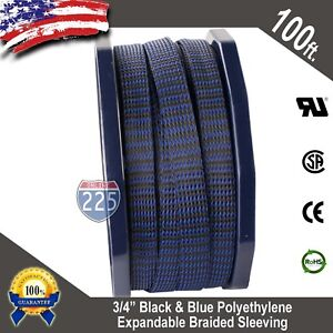 "100 FT 3/4"" Black Blue Expandable Wire Sleeving Sheathing Braided Loom Tubing US"