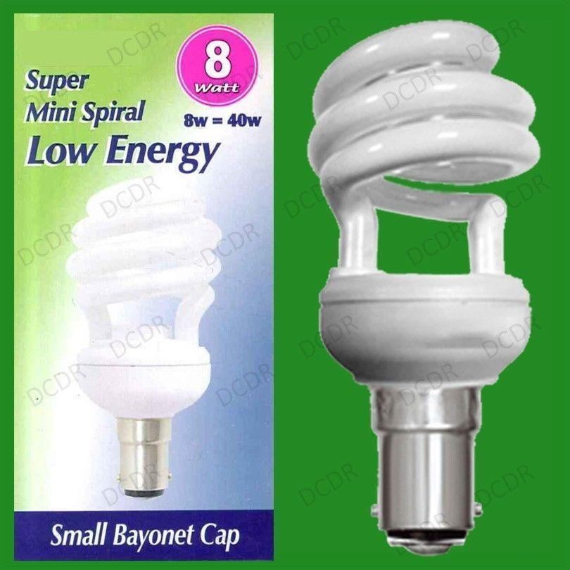 25x 8W (=40w) Low Energy Power CFL Mini Spiral Light Bulbs SBC B15 Small Bayonet