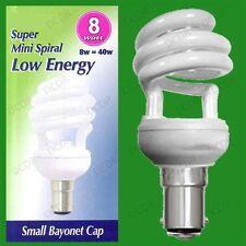 6x 8W =40w Low Consumo Energetico CFL Mini Spirale Lampadine SBC,B15 Piccolo