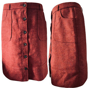 Laura-Ashley-Vintage-Moon-Wool-Rusty-Red-Pencil-Skirt-Button-Up-Pockets-Size-16