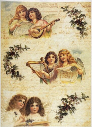 for Decoupage Scrapbooking Sheet Rice paper Angel Musicians 03